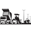 Construction of roads streets and highways vector image