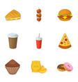 harmful fast food icons set cartoon style vector image