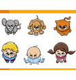 kids and pets cartoon set vector image