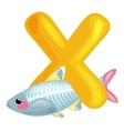 letter X with animal x-rayfish for kids abc vector image