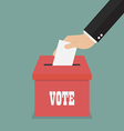 Businessman hand putting paper in the ballot box vector image