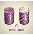 realistic recycle bin icon vector image