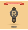 Logo emblem crown pen the letter R education vector image
