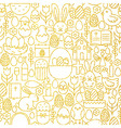 Thin Line Gold Happy Easter Seamless Pattern vector image