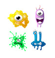 bright cartoon bacteria with funny faces vector image