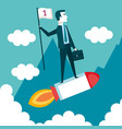 business man on a rocket with flag cloud landscape vector image