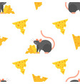flat style seamless pattern with mouse and cheese vector image