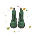 warm boots with lace of green color shoes on the vector image