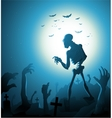 Zombie Halloween background with moon vector image vector image