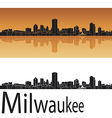 Milwaukee skyline in orange background vector image vector image
