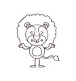 sketch contour caricature of cute lion tranquility vector image