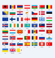 set of flags of all countries of europe rectangle vector image