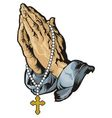 Praying hands with rosary tattoo vector image