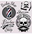 set of emblems on a theme barber shop vector image