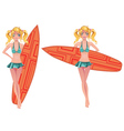 Girl with Surfing Board2 vector image