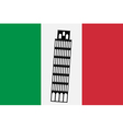 Pisa tower on background of Italy flag vector image