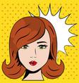 beauty woman pop art comic polka dots background vector image