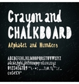 Chalkboard and crayon alphabet vector image
