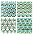 Geometric ethnic aztec mexican seamless patterns vector image
