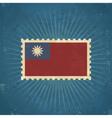 Retro Taiwan Flag Postage Stamp vector image