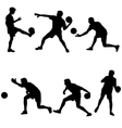 Set silhouettes of soccer players with the ball vector image