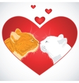 Two beloved cats on the heart shape background vector image
