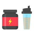 whey protein with sports shaker flat icon vector image