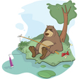 Bear the fisherman vector image vector image