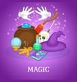 magician rituals concept cartoon style