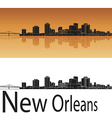 New Orleans skyline in orange background vector image