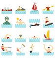 water sport set flat icons vector image