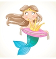 Cute mermaid holding a crown on the pillow vector image
