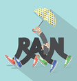 Rain With Legs And Umbrella Typography Design vector image
