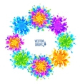 Bright colorful paint splashes round frame vector image
