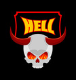 Welcome to hell Plate for door Satans skull with vector image