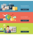 Flat design concepts for management investment vector image