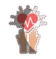 hands with heartbeat vital sign up vector image