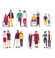 happy disabled people with friends cartoon flat vector image