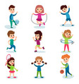 smiling little kids characters doing different vector image