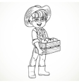 Cute boy farmer in jeans overalls and rubber boots vector image vector image