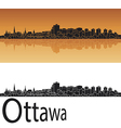 Ottawa skyline in orange background vector image