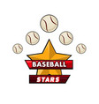 baseball stars logotype design with small balls vector image