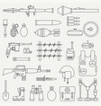 line flat military icon set army equipment vector image