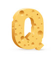 cheese font q letter on white vector image vector image