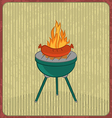 Barbecue card with sausage and flame vector image