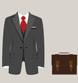 Suit and briefcase vector image