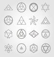Japan religious symbols sacred geometry set vector image vector image