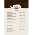 menu price list for coffee beans vector image vector image