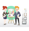 businessman and woman with gadgets vector image