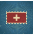 Retro Switzerland Flag Postage Stamp vector image